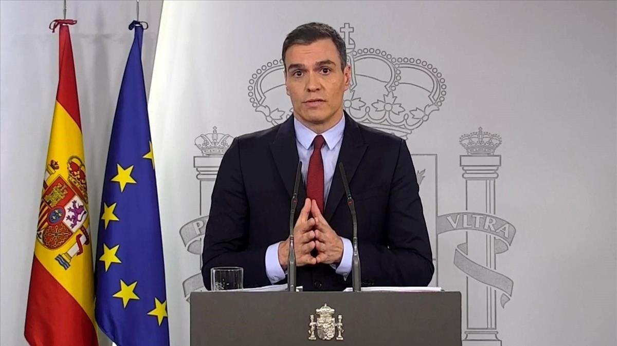 Pedro Sánchez durante una de sus ultimas comparecencias