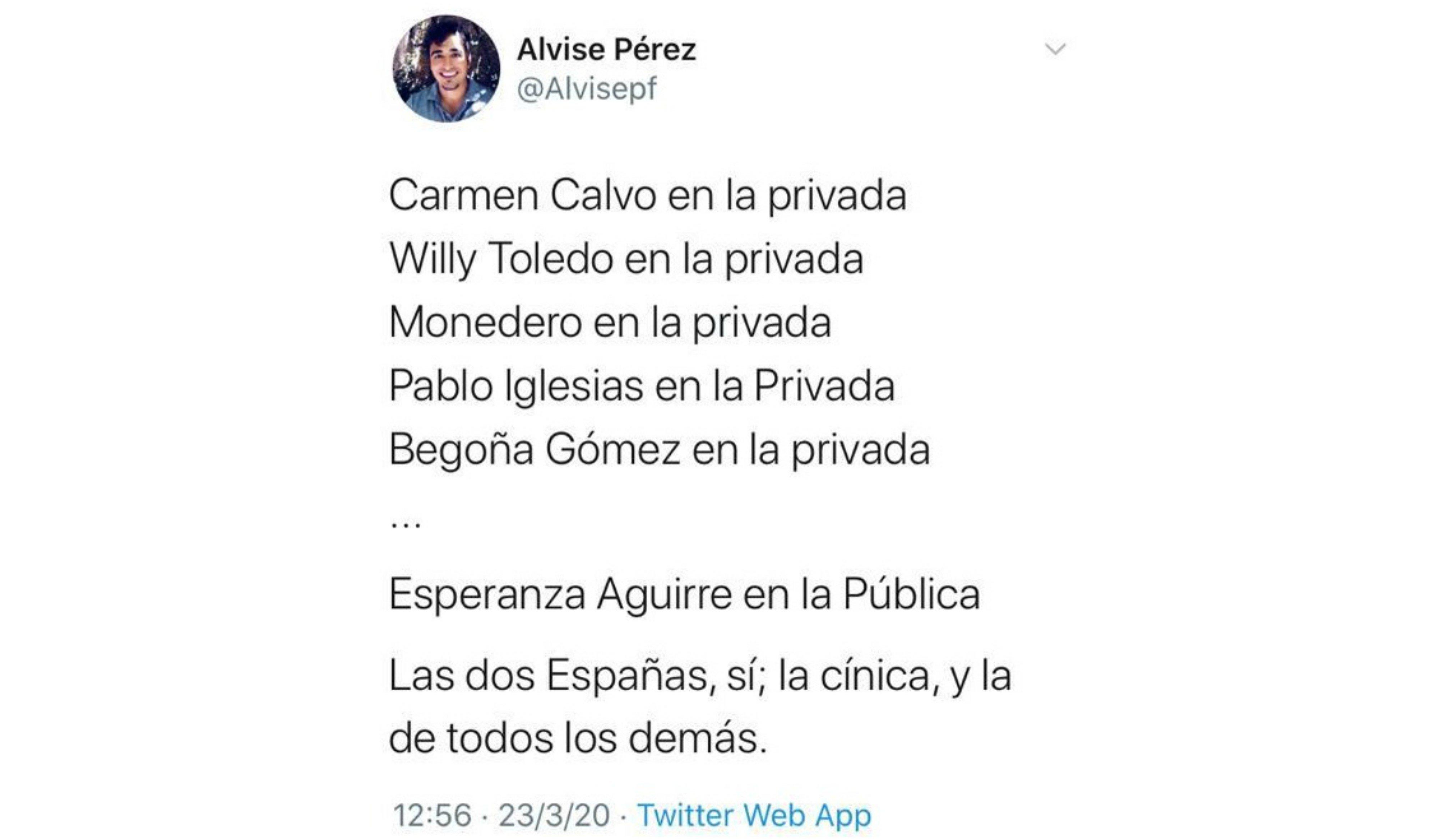 Las dos Españas... la socialista Carmen Calvo en la Ruber, la pepera y corruptísima Esperanza Aguirre, en la sanidad pública