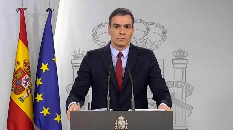 Pedro Sánchez durante su comparecencia