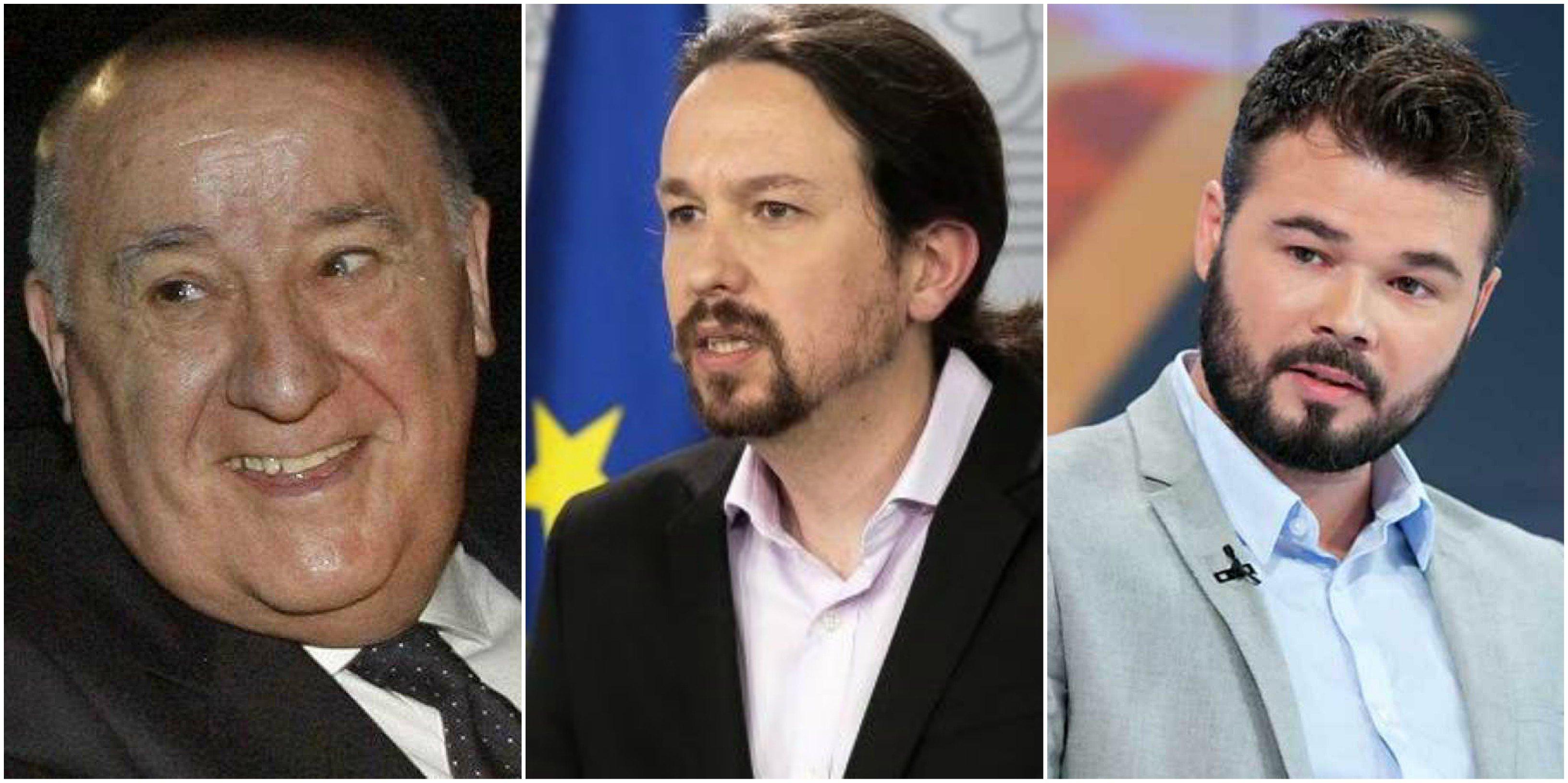 Amancio Ortega, Pablo Iglesias y Gabriel Rufián