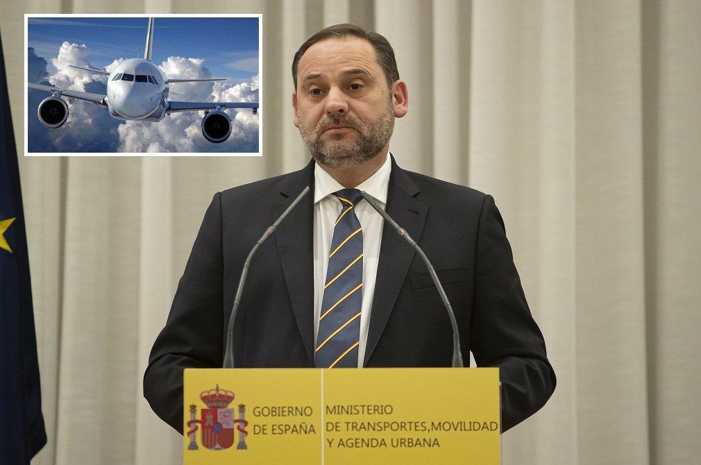 El ministro de Transportes, Movilidad y Agenda Urbana, José Luis Ábalos, se refirió a las aerolíneas en su última rueda de prensa