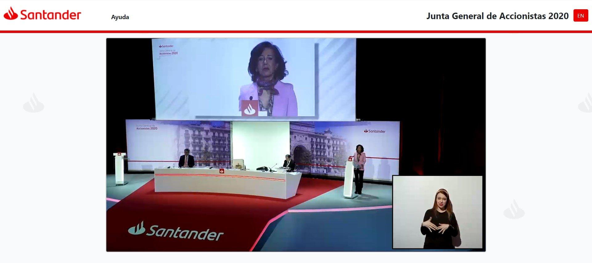Ana Botín ha presumido de la preparación del Santander para celebrar la Junta de Accionistas en remoto