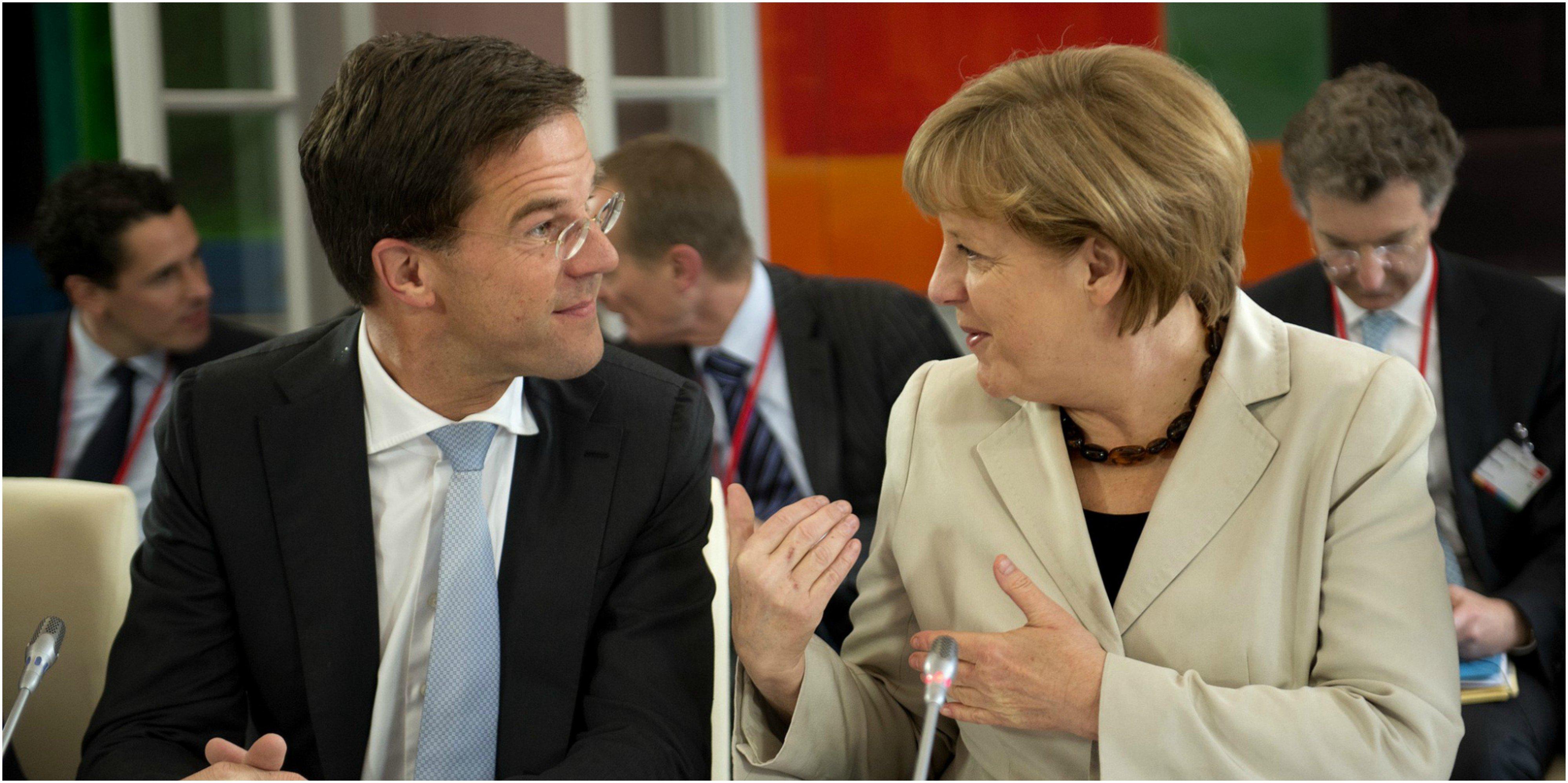La canciller alemana, Angela Merkel y el primer ministro holandés, Mark Rutte