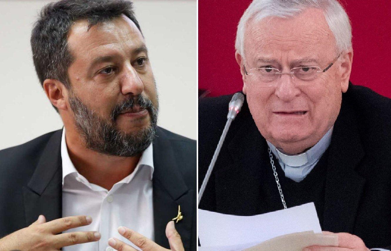 Matteo Salvini y Gualtiero Bassetti