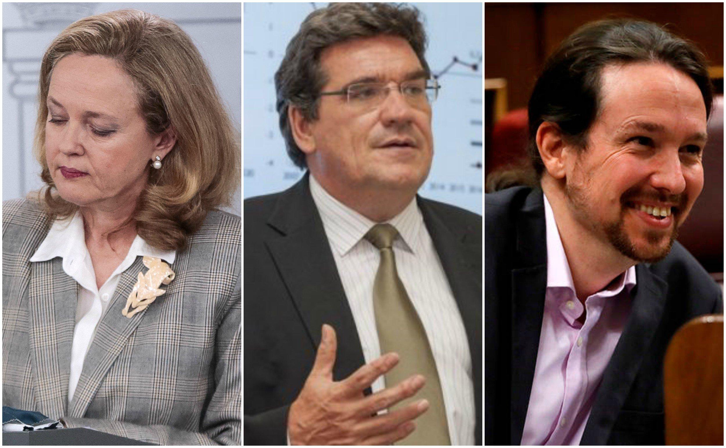 Nadia Calviño, José Luis Escrivá y Pablo Iglesias