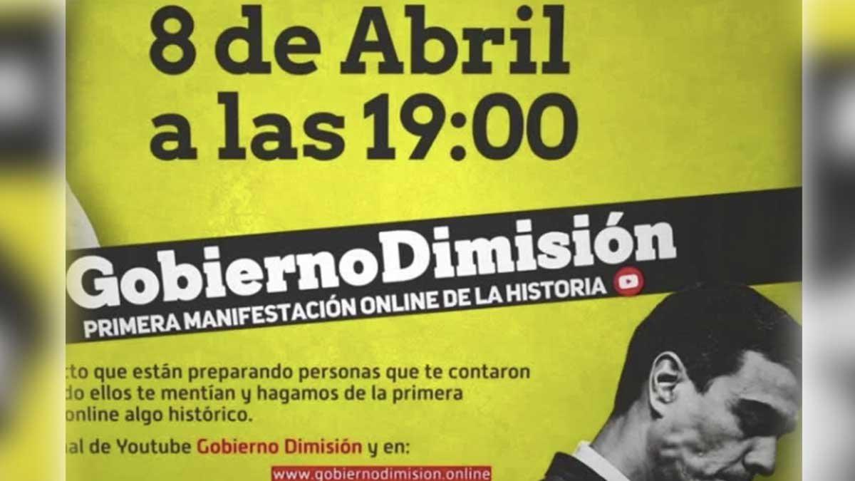 Primera manifestación virtual contra el Gobierno