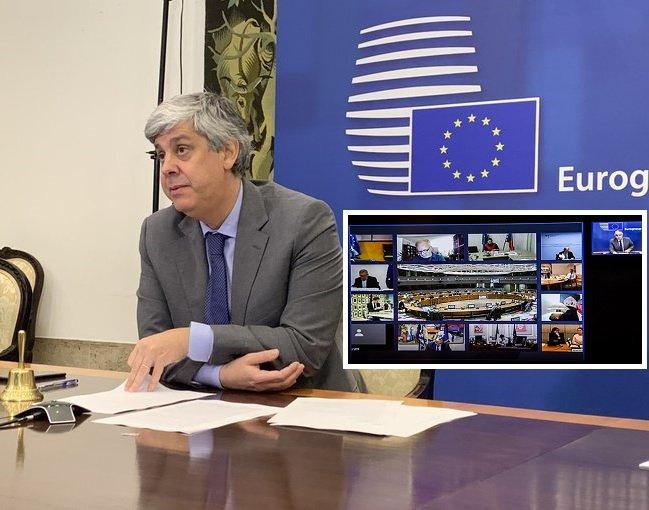 Mário Centeno, presidente del Eurogrupo, en la reunión celebrada por videoconferencia