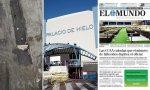 Fosa común de Nueva York frente al exterior del Palacio de Hielo de Madrid y la única foto de su interior