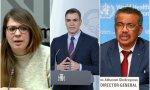 Janet Sanz, Pedro Sánchez y Tedros Adhanom