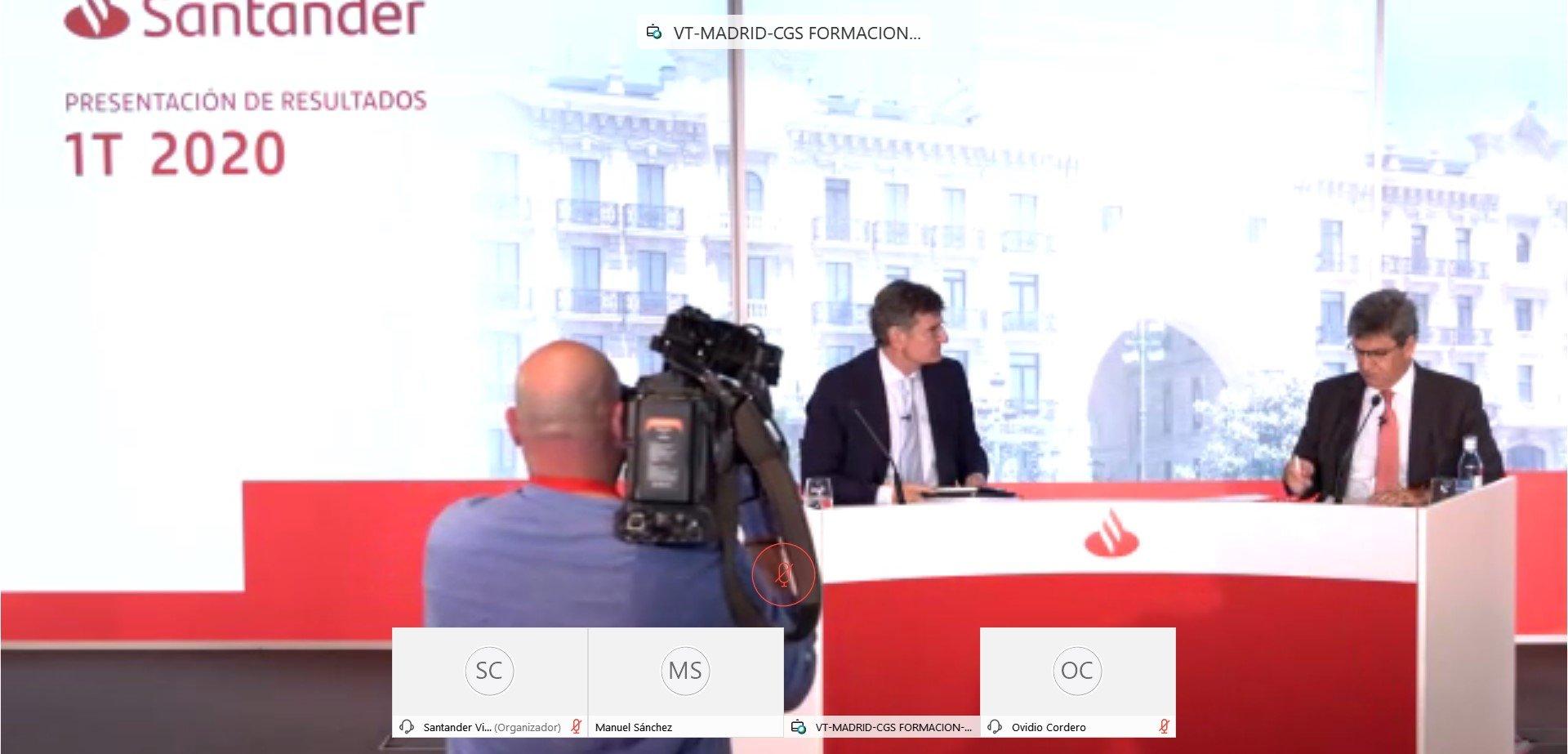 Rueda de prensa telemática de Banco Santander para presentar los resultados hasta marzo