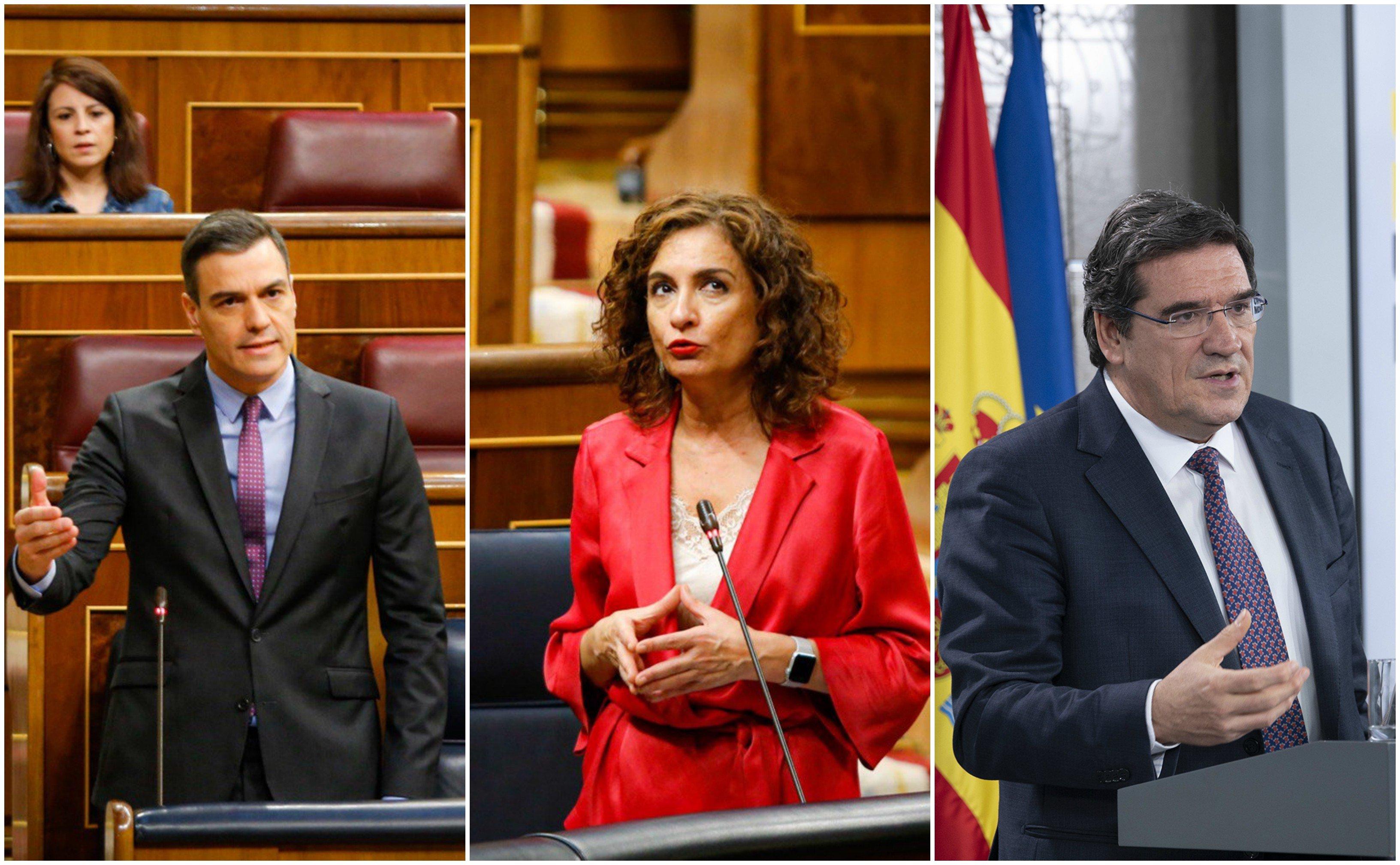 Pedro Sánchez y sus dos ayudantes en camuflar cifras: los ministros María Jesús Montero y José Luis Escrivá