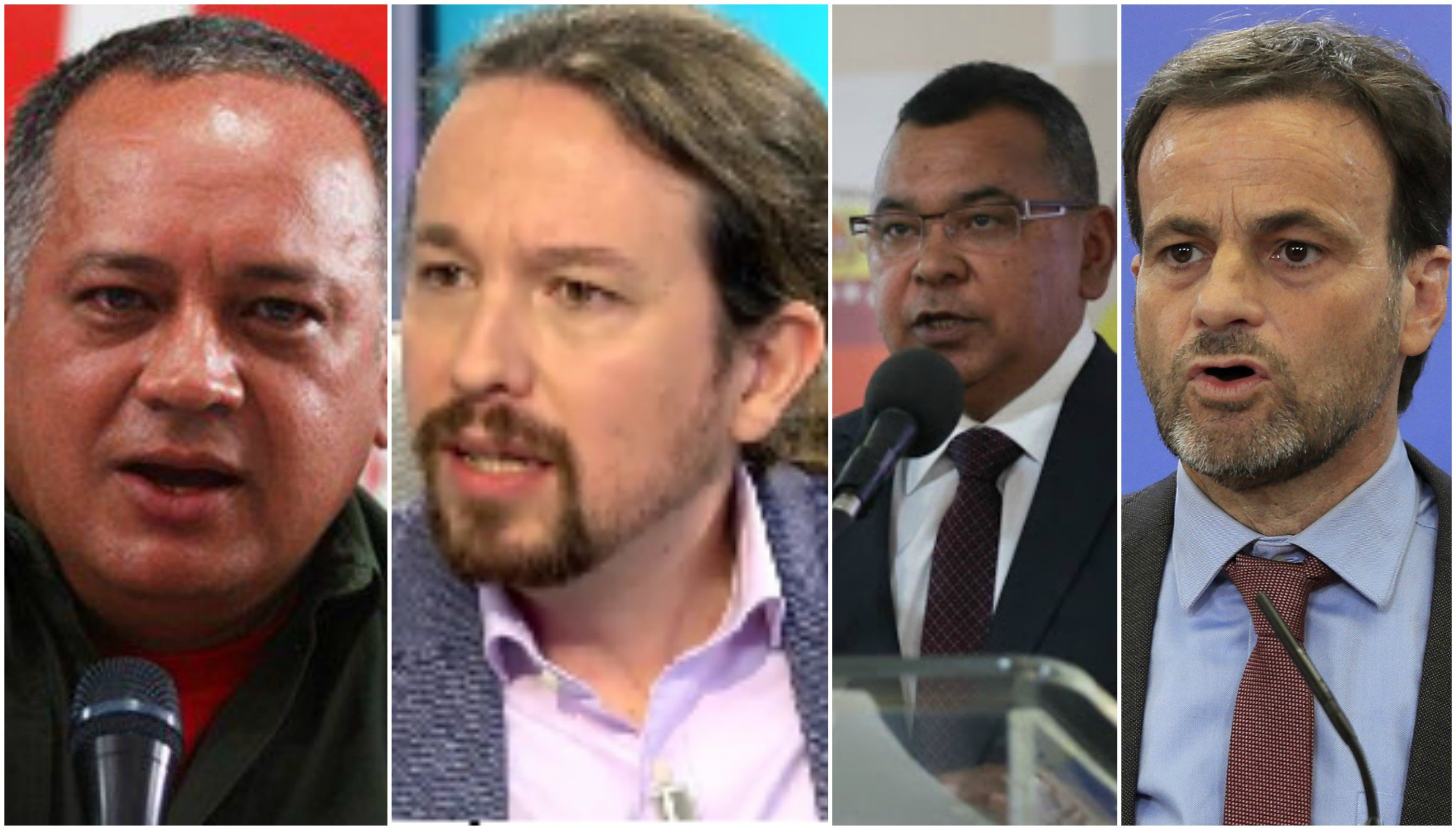 Diosdado Cabello, Pablo Iglesias, Nestor Luis Reverol y Jaume Asens