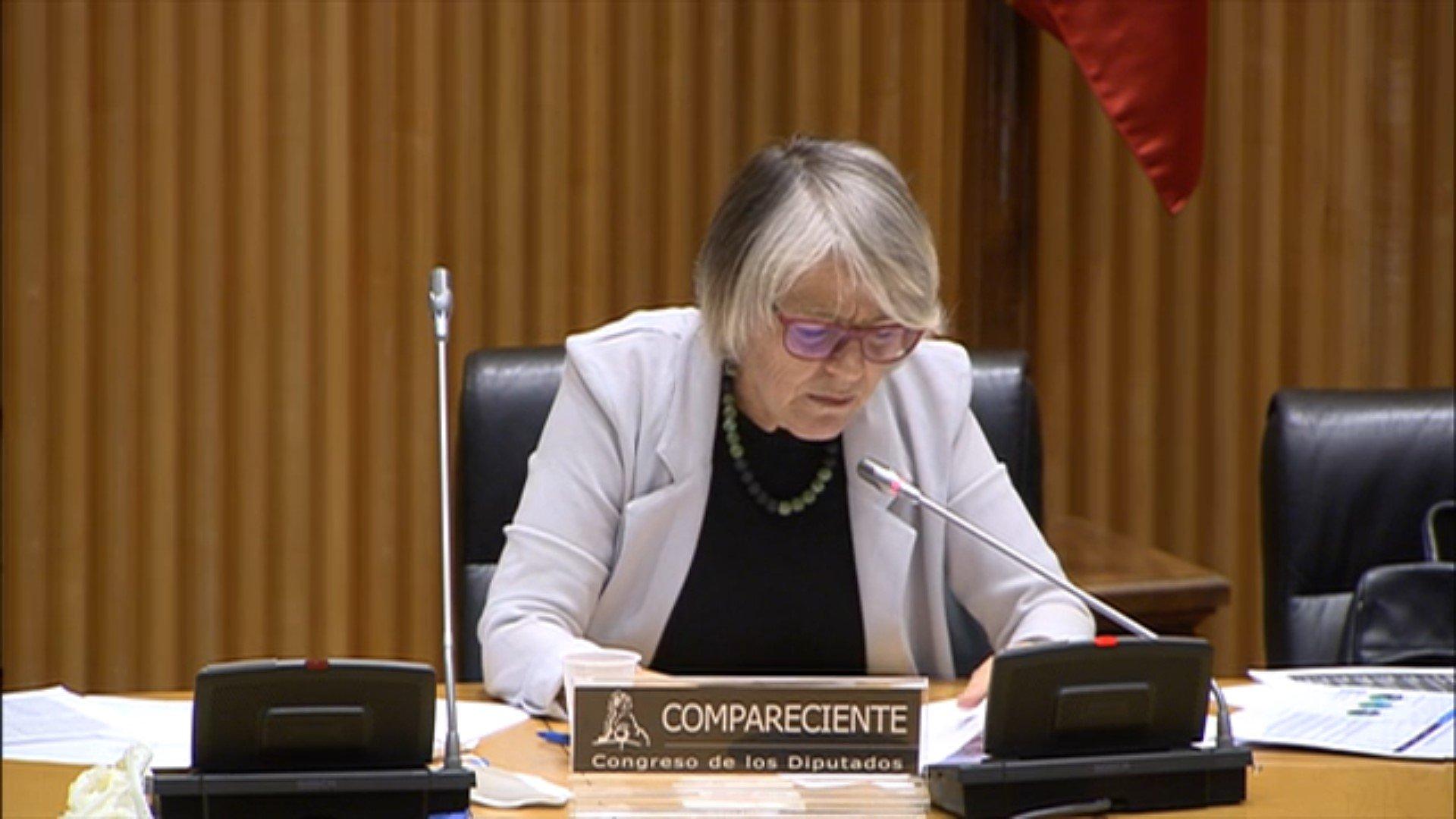 Marina Gabriela Cañas Pita de la Vega, durante su comparecencia, este lunes, en el Congreso