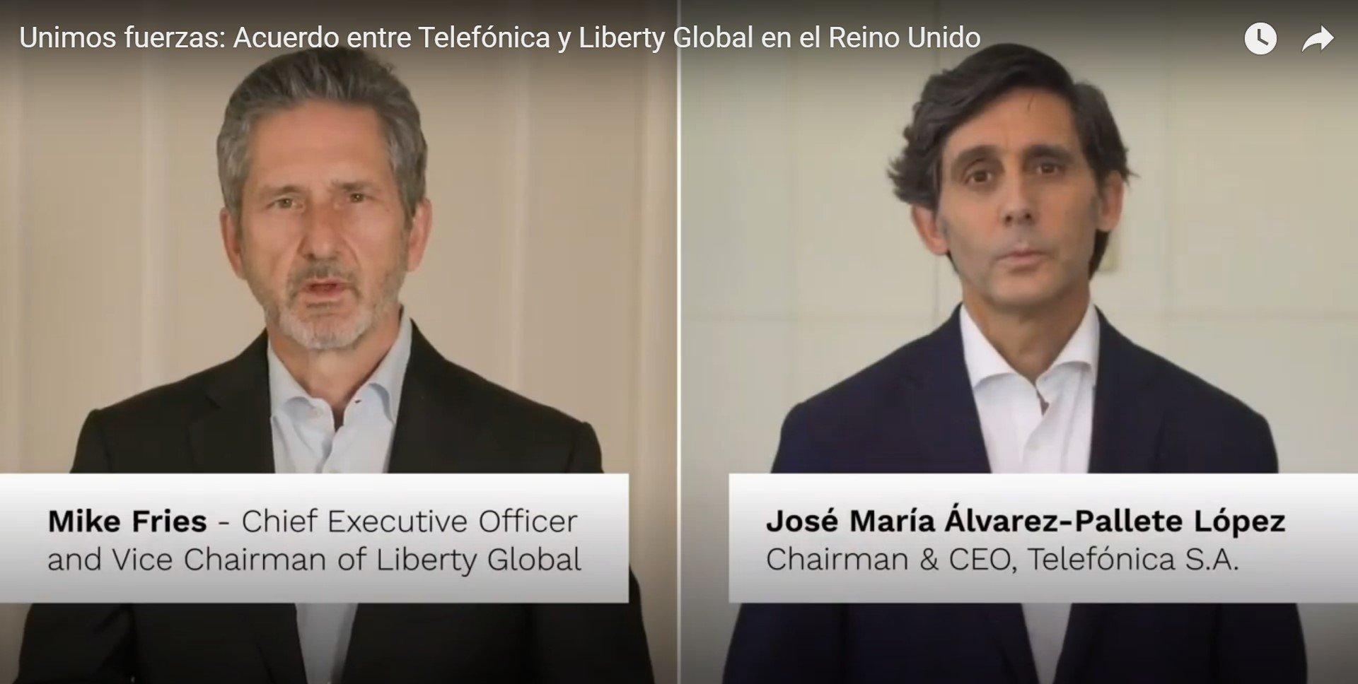 Mike Fries y José María Álvarez-Pallete están encantados con el acuerdo