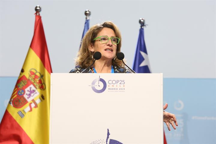 Teresa Ribera en la Cumbre del Clima celebrada en Madrid y presidida por Chile