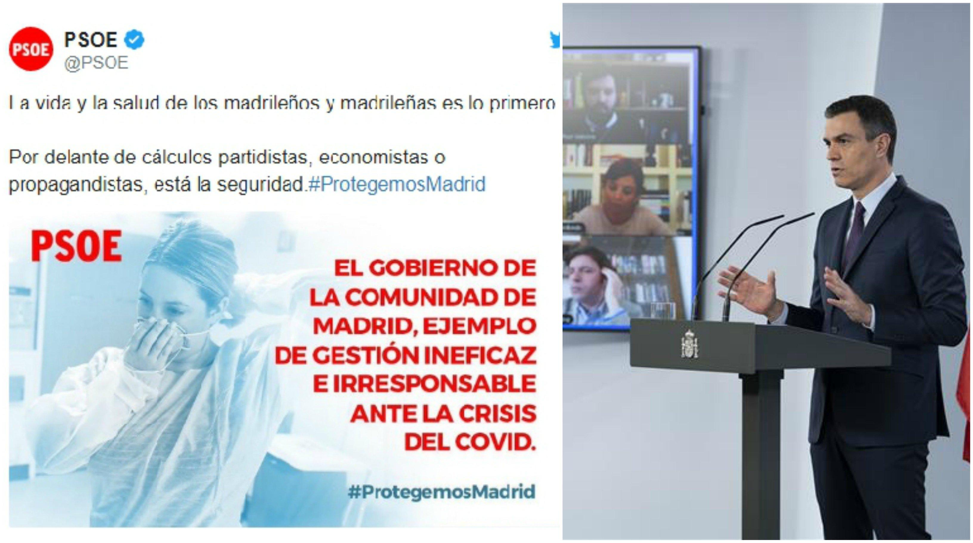 El PSOE critica en un tuit a la CAM por su mala gestión del coronavirus. Pedro Sánchez responde a los periodistas: Yo no sabía nada, estoy a lo mío... Si sólo soy el secretario general del partido
