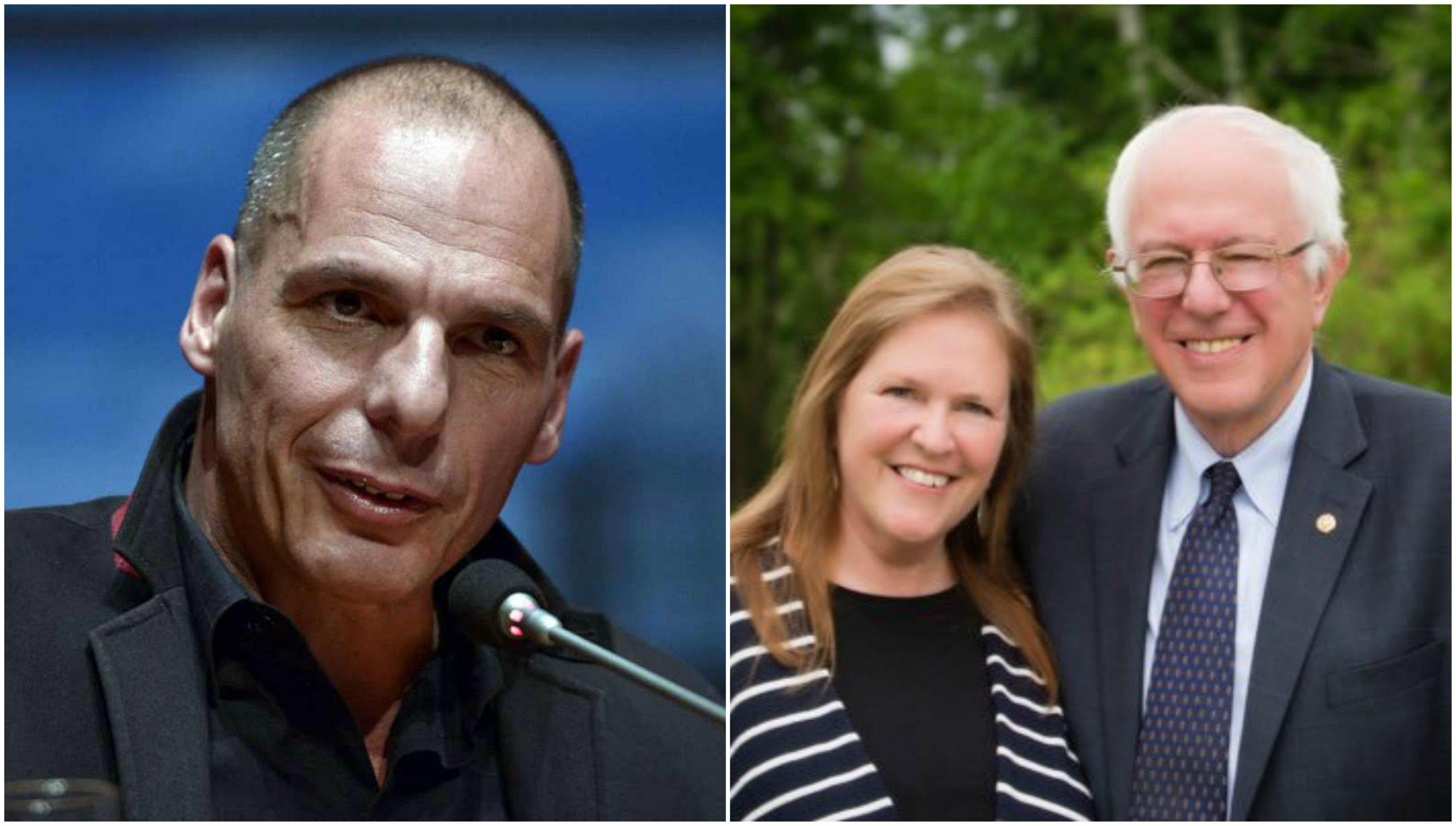 Yanis Varoufakis y Jane y Bernie Sanders