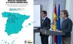 El ministro Illa y Fernando Simón en la presentación del nuevo mapa de transición