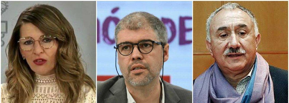 Yolanda Díaz, Unai Sordo y Pepe Álvarez
