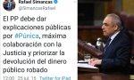 Rafael Simancas, en el Congreso, y el tuit que escribió en 2015. ¿Ahora escribirá algo al respecto?
