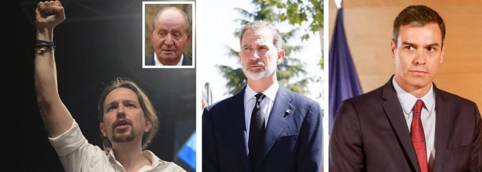 Iglesias, el Rey emérito, el Rey Felipe VI y Sánchez