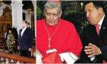 A la izquierda, Nicolás Maduro en una iglesia y a la derecha, cardenal Jorge Urosa y Hugo Chávez
