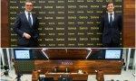 José Sevilla, consejero delegado de Bankia, y Leopoldo Alvear, director general adjunto financiero y debajo un momento de la presentación de resultados
