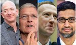 Bezos, Cook, Zuckerberg y Pichai, los respectivos CEOs de Amazon, Apple, Facebook y Google