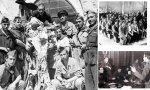 Milicianos posan con cadáveres de monjas profanados y al lado, juicios franquistas