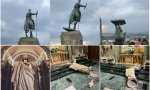 Atacan otra catedral en EE.UU. y destruyen una valiosa imagen del Sagrado Corazón... mientras, en Colombia, indígenas derriban una estatua de un conquistador español... ¿más secuelas del Black Lives Matter?