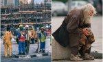 Trabajadores y gente pidiendo en la calle
