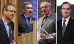 El CEO de Ibercaja, Victor Iglesias (2º por la izquierda), le ha dicho que no a Pablo Hernández de Cos (izquierda) y no se unirá a la fusión que negocian Manuel Azuaga (Unicaja) y Manuel Menéndez (Liberbaank)