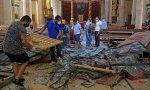 iglesia destruida en Líbano tras la explosión en el puerto de Beirut