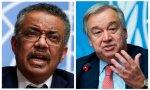 Antonio Guterres (derecha) pide que aumente la sanidad pública, mientras Tedros Adhanom Ghebreyesus nos prepara para nuevas pandemias: ¡Yehaaa!