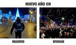 Madrid y Wuhan, dos Nocheviejas e inicios de 2021 muy distintos...