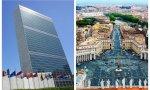 La sede de la ONU, que impulsa también el NOM, y la plaza del Vaticano, desde donde se dirige la Iglesia católica