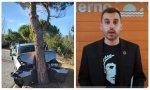 El podemita Mario Herrera y su coche siniestrado