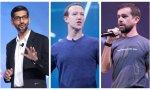 Sundar Pichai (Google) y Mark Zuckerberg (Facebook) y Jack Dorsey (Twitter)