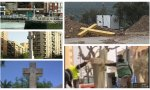 A la derecha tres cruces que se quieren eliminar en Baracaldo, Cáceres y El Casar (Cáceres). A la izquierda, dos cruces ya derribadas, en Aguilar de la Frontera (Córdoba) y  San Vicente de Montalt (Barcelona)
