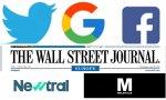 Twitter, Google, Facebook, Portada The Wall Street Journal, Logo Newtral y Logo Maldita