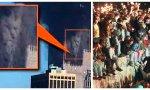 Imágenes del siglo XXI y siglo XX: La caída de las Torres Gemelas (en cuyo derrumbe se dijo que se llegó a ver una imagen de Satán) y la caída del Muro de Berlín