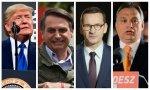 Trump, Bolsonaro, el primer ministro polaco, Mateusz Morawiecki, y el primer ministro húngaro, Orban (1)