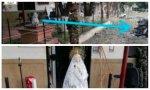 Arriba imágenes tras la explosión, debajo imagen de la Virgen, intacta tras la deflagración