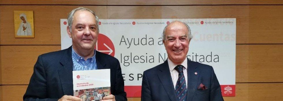 javier Menéndez Ros y Antonio Sainz de Vicuña, director y presidente de ACN España, respectivamente, dan gracias a Dios y a los benefactores por el aumento de la generosidad con la Iglesia que sufre pobreza, discriminación o persecución en el mundo