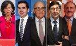 Ana Botín (Santander), Carlos Torres (BBVA), Josep Oliu (Sabadell), José Ignacio Goirigolzarri (Caixabank) y Pedro Guerrero (Bankinter)