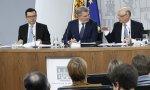 Escolano, Méndez de Vigo y Montoro, en rueda de prensa.
