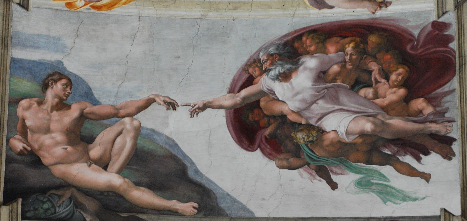 La creación de Adán en la Capilla Sixtina