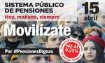 """Cartel de la movilización convocada para el 15 de abril. Montoro dice que """"los menores de 40 tendrán pensión"""""""