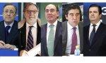 Primera cascada de resultados entre intrigas. De izquierda a derecha, Florentino Pérez, Juan Luis Cebrián, Ignacio Galán, Miguel Manrique y Borja Prado.